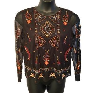 Black tape embroidered top